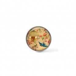 Clip-on snap button for  interchangeable jewelry : vintage blue bird in flight