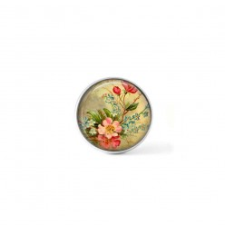 Clip-on snap button for  interchangeable jewelry : vintage flowers