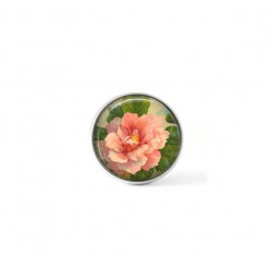Clip-on snap button for  interchangeable jewelry : vintage peony