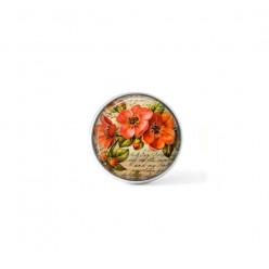Bouton cabochon clipsable pour bijoux interchangeables : fleurs d'églantier vintage