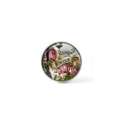 Clip-on snap button for  interchangeable jewelry : Bonjour vintage French theme