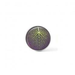 Bouton cabochon clipsable pour bijoux interchangeables : Nénuphar géante vert et violet