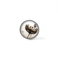 Clip-on snap button for  interchangeable jewelry : queen anne's lace in sepia