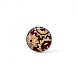 Clip-on snap button for  interchangeable jewelry : steampunk cogs theme in beige and brown