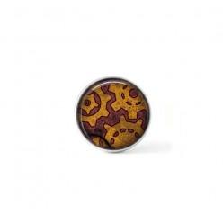 Bouton cabochon clipsable pour bijoux interchangeables : Rouages steampunk rouille