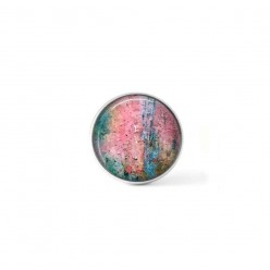 Clip-on snap button for  interchangeable jewelry : Pink and green abstract texture