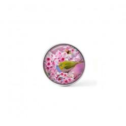 Bouton cabochon clipsable pour bijoux interchangeables : Oiseau verdier et fleurs de cerisier
