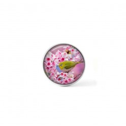 Clip-on snap button for  interchangeable jewelry : Greenfinch in cherry blossoms