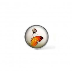 Clip-on snap button for  interchangeable jewelry : orange butterfly on a flower