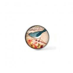 Bouton cabochon clipsable pour bijoux interchangeables : oiseau merle bleu vintage
