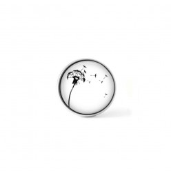 Clip-on snap button for  interchangeable jewelry : Naïve dandelion in the wind in black and white