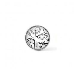 Bouton cabochon clipsable pour bijoux interchangeables : Bouquet de pissenlit naïfs en noir et blanc
