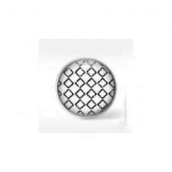 Bouton cabochon clipsable pour bijoux interchangeables : motif pattern losanges noir et crème