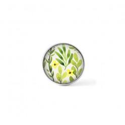 Bouton cabochon clipsable pour bijoux interchangeables : motif floral vert et jaune