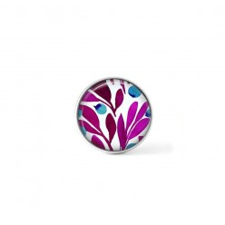 Clip-on snap button for  interchangeable jewelry : Magenta and turquoise olive leaves