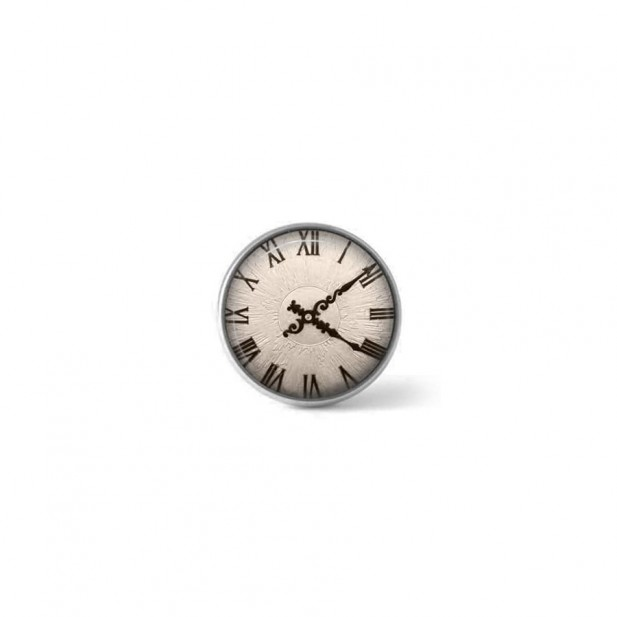 Clip-on snap button for  interchangeable jewelry : sepia clock theme