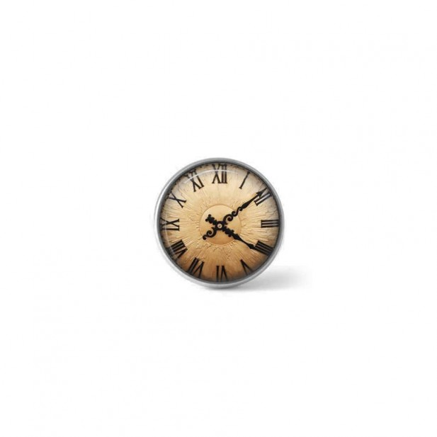 Clip-on snap button for interchangeable jewelry : copper clock theme