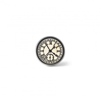 Clip-on snap button for interchangeable jewelry : black and white vintage watch theme