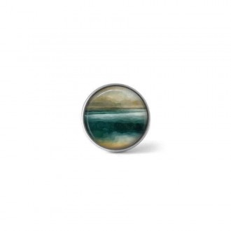 Clip-on snap button for interchangeable jewelry : abstract landscape in teal and beiges