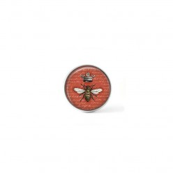 Clip-on snap button for  interchangeable jewelry : vintage bumble bee on terra cotta background
