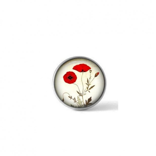 Interchangeable clip on button with a botanical poppy design
