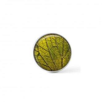 Interchangeable clip on button - green leaf design