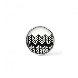 Bouton cabochon clipsable pour bijoux interchangeables : motif chevrons multiples fins dessinés à la main