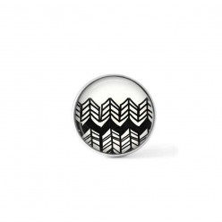 Clip-on snap button for  interchangeable jewelry : hand-drawn complex chevron pattern in black and white
