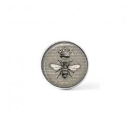 Bouton / Cabochon pour bijoux personnalisables - Motif abeille vintage en noir, gris et blanc