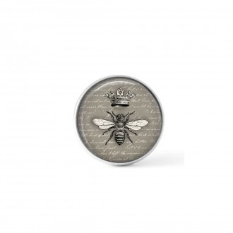 Clip-on snap button for interchangeable jewelry : Vintage bumble bee with crown in black, white and grey