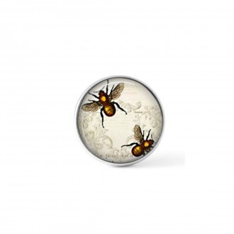 Interchangeable clip on button with a vintage bumble bee
