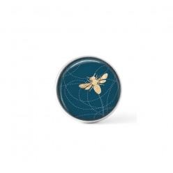 Bouton / Cabochon pour bijoux personnalisables - Motif abeille sur un fond bleu sarcelle profond