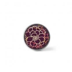 Bouton / Cabochon pour bijoux personnalisables - Motif Fleurs sur fond prune