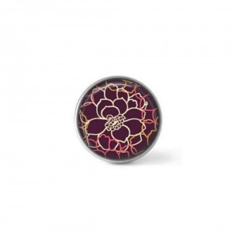 Interchangeable clip on button with a floral theme on prune background