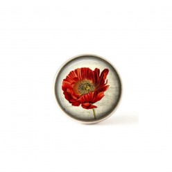 Bouton / Cabochon pour bijoux interchangeables grosse fleur de coquelicot
