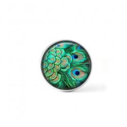 Bouton cabochon clipsable pour bijoux interchangeables : plume de paon vert emmeraude
