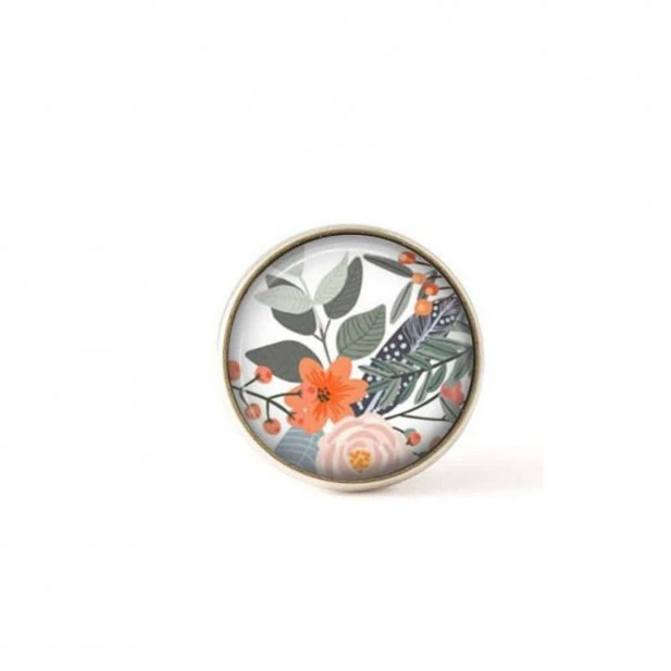 Interchangeable clip on buttons sage and orange florals