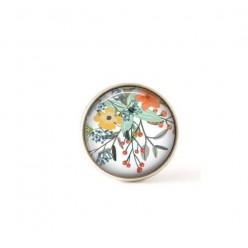 Bouton / Cabochon pour bijoux interchangeables fleurs oranges et vertes
