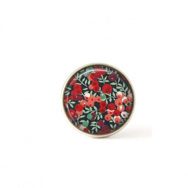 Interchangeable clip on buttons Liberty red flowers.