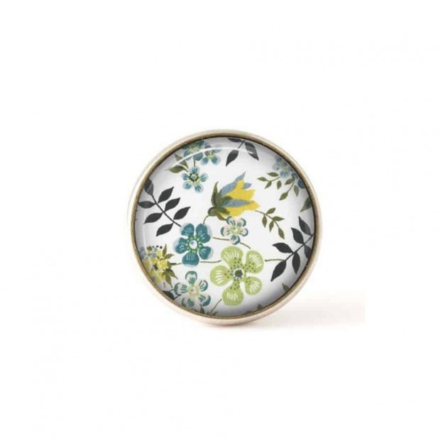 Interchangeable clip on buttons Liberty green flowers
