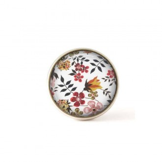 Interchangeable clip on buttons Liberty pink and orange flowers
