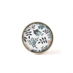 Interchangeable clip on buttons Liberty blue flowers