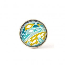 Bouton / Cabochon pour bijoux interchangeables motif vert anis et  bleu turquoise.