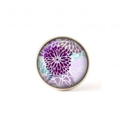 Bouton / Cabochon pour bijoux interchangeables fleurs japonisantes violetes.