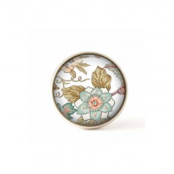 Bouton / Cabochon pour bijoux interchangeables fleurs kaki et bleu clair.