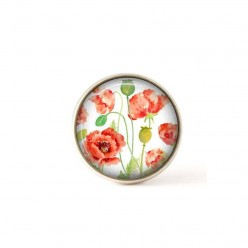 Interchangeable clip on buttons watercolor poppies.