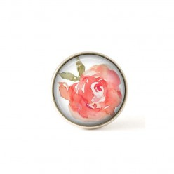 Interchangeable clip on buttons watercolor rose.
