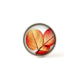 Bouton / Cabochon pour bijoux interchangeables feuillages orange.