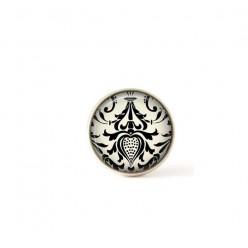 Bouton / Cabochon pour bijoux interchangeables damassée noir et blanc