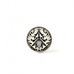 Interchangeable clip on buttons featuring a black and cream damask theme.